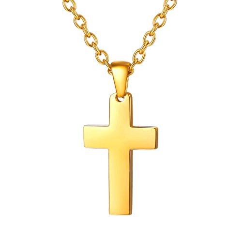 PROSTEEL Kreuzanhänger Edelstahl Christlich Kreuz Halskette Minimalist Unisex Halskette für Männer Frauen Jungen Mädchen, Gold-S