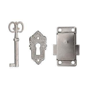 Eine Tür Curio (CCChaRLes Schrank Tür Möbel Dekorative Hardware Latch Hasp Pull Griffe Schlüssel Curio Großvater Uhr Schloss - Silber)