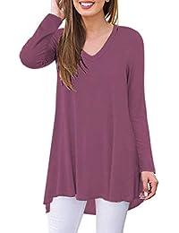 AUSELILY Camiseta de Manga Larga con Cuello en v para Mujer Túnica Tops Blusa Camisas.