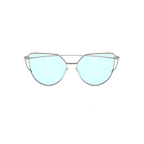 Ularma Damen Twin-Tr/äger Vintage Classic Metallrahmen Sonnenbrille Katzenaugen Brille Reflektierenden Spiegel