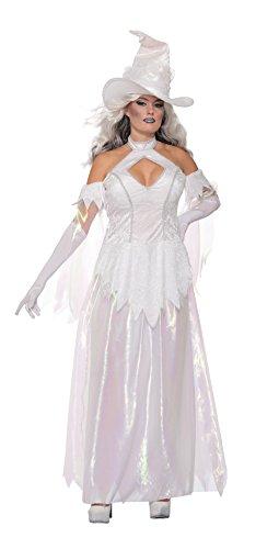 Emmas Schrank Weiße Hexe Kostüm für Frauen - Adult Halloween-Kleid UK Größe 8-12 (Women: One Size, ()