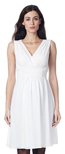 Nitis Umstandsmode Umstandskleid Brautkleid Hochzeitskleid Schwangerschaftskleid Dress Damen Kleid (L (40-42), Offwhite)