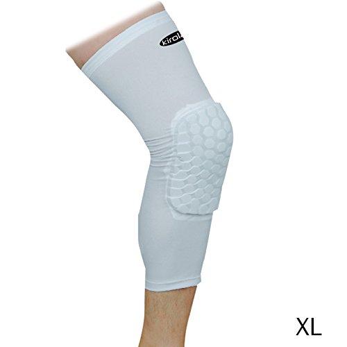 KIROLAK Volleyball y baloncesto Rodilleras, de largo Tipo de panal Protector de la manga de la rodilla de la pierna Reforzar almohadillas de la rodilla Crashproof rodilla de la rodilla Protector almohadilla de apoyo Guardia de manga Blanco - tamaño XL