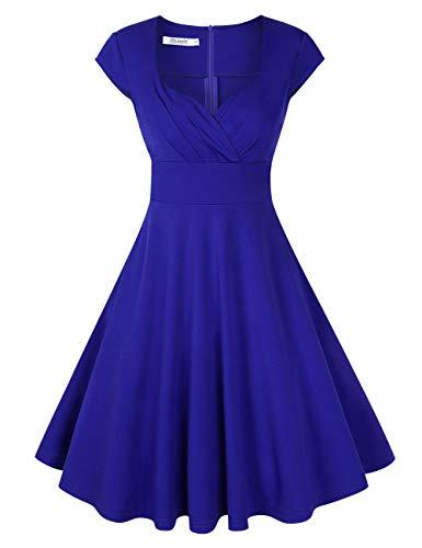 KOJOOIN Damen 50er Vintage Kleid Retro Cocktailkleid Abendkleid Ballkleid V-Ausschnitt Knielang Kleider Blau XL
