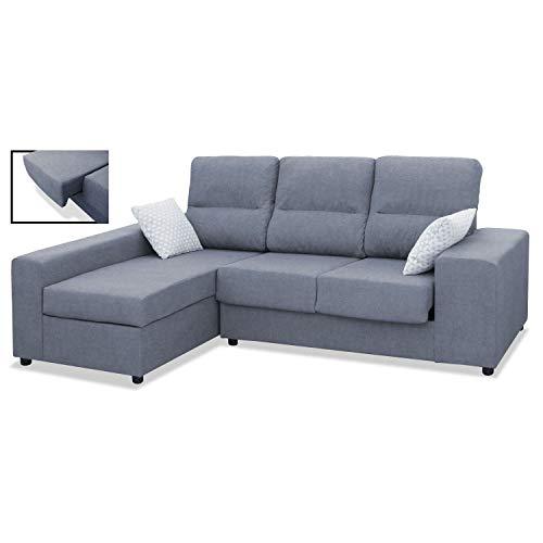 Mueble Sofa Chaiselongue, Subida Domicilio, 3 Plazas, Color Gris, Cheslong rinconera, ref-01
