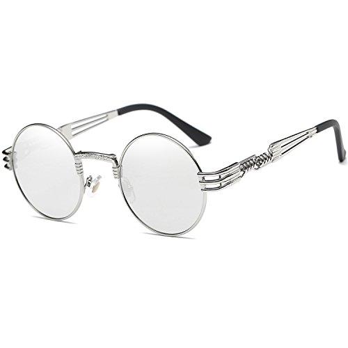 Dollger John Lennon Runde Metalle Rahmen Spiegel Sonnenbrille Klassiker Steampunk Stil(Silber Spiegel+Silberrahmen)