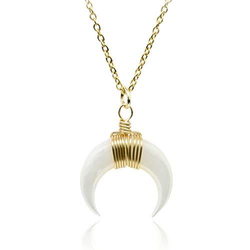 SUNIANA® - Seashell Halskette ♥LUNA♥ mitHalbmond Anhänger in Weiß |EchtesPerlmutt |DamenKettein Gold