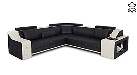 Ledercouch Ecksofa schwarz / weiß L-Form Wohnlandschaft Leder modern Ledercouch Couch Sofa mit LED-Licht Beleuchtung Designsofa BERLIN