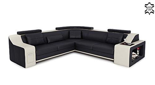 chwarz / weiß L-Form Wohnlandschaft Leder modern Ledercouch Couch Sofa mit LED-Licht Beleuchtung Designsofa BERLIN II ()