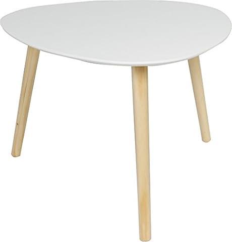 Couchtisch / Beistell-tisch im Retro-Stil, Sofatisch mit drei Beinen 55x55cm (Weiss matt)