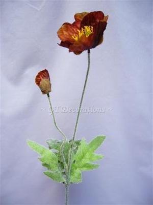 6fiori artificiali Iceland Poppy W/Bud spruzza da GT Decorazioni Brown