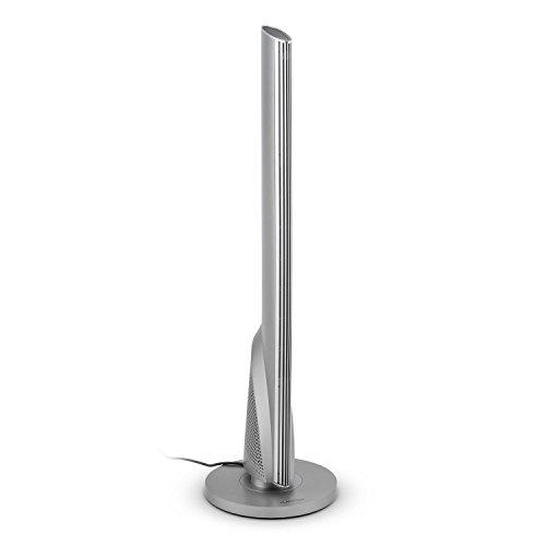 Klarstein Skyscraper Heat  calefactor de torre  termoventilador  oscilación  1600 ó 2500 W  temperatura del ambiente puede ser ajustada gradualmente entre 15 y 28° C  panel táctil  pantalla LED  temporizador  control remoto  plata