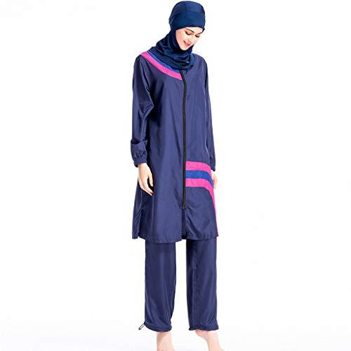 Lazzboy Frauen Muslimischen Badeanzug Kappe Volltonfarbe Beachwear Bademode Moslemische Badebekleidung Hijab Volle Abdeckung Muslimische Schwimmen Burkini(Blau,L) Volle Navigation