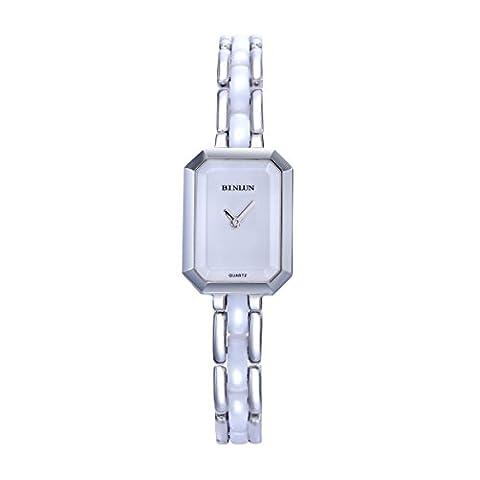 BINLUN Femmes Blanc Petit rectangle Acier inoxydable avec Céramique Legend Montre suisse avec bracelet en quartz