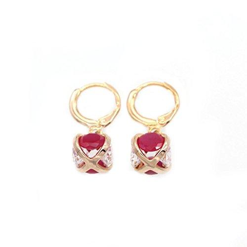 Ein Art Von Einer Modeschmuck (LOVE STUDIO,Frauen Ohrring 18K Gold überzogene rote und weiße Steinohrring Ohrring sphärische Ohrring Art- und Weiseschmucksachen für Frauen)