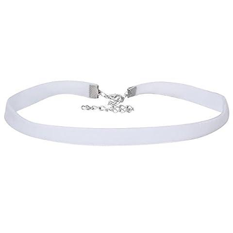MingJun Women's Choker Gothic Velvet Choker Collar Necklace Adjustable (White)