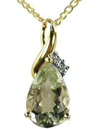 Ornami Glamour 9ct Gold Diamond Set Large Teardrop Pendant