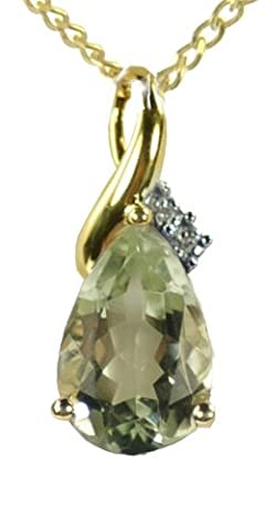Ornami Glamour 9ct Yellow Gold Diamond Set Large Teardrop Green Amethyst Pendant with 46cm Curb Chain