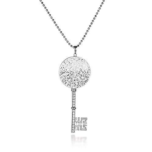d Silber Key Lock Halsketten & Anhänger Hohle Blume Innerhalb Klarem Kristall Lange Kette Pullover Anhänger HalsketteSilber Farbe ()