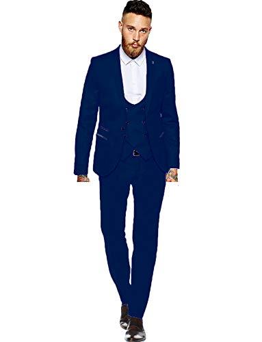 YYI Herren EIN Knopf 3-teiliger Anzug Revers Jacke Weste & Hose