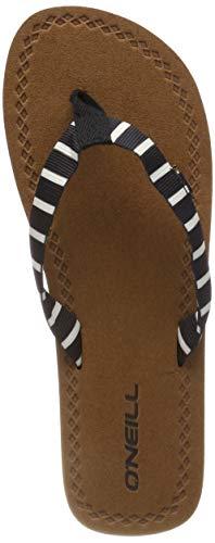 Schwarze Und Weiße Flip Flops (O'Neill Damen FW Woven Strap Sandals Riemchensandalen, Schwarz (Black AOP W/White 1 9911), 42 EU)