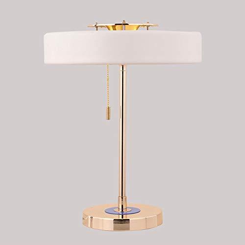 ♪ * Hohe Qualität Nordische Britische Moderne Rangers Hardware Tischlampen Designer Modell Zimmer Ausstellungshalle Schreibtischlampe Wohnzimmer Nachttischlampe Höhe: 44 cm (Farbe: Weiß) ♪