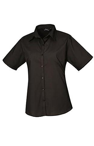 Premier Ladies Short Sleeve Poplin Blouse Black 12