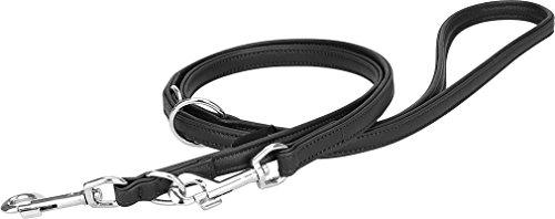 Knuffelwuff Leder Hundeleine Führleine mehrfach verstellbar Länge 200 cm, Breite 18 mm Schwarz