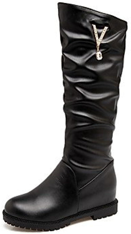 Heart&M Mujer Zapatos PU Otoño Invierno Confort Botas Tacón Plano Dedo redondo Pedrería Para Blanco Negro Rosa... -