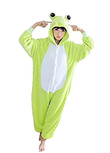 Warmes Unisex-Karnevals-Kostüm für Kinder, Einhorn Eule Zebra Giraffe Kuh, für Halloween Fest Party, als Pyjama, Tier-Kigurumi-Kostüm für Zoo-Cosplay, Einteiler - Höhe 105/115cm X-Small - Frosch