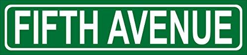 Schild - Fifth Avenue New York - American Street Sign Amerikanisches Straßenschild - 52x11cm - Bohrlöcher Aufkleber Hartschaum Aluverbund -S00346-023-A
