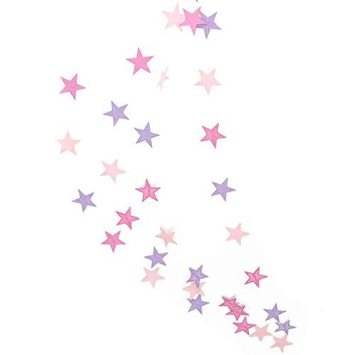Jinzuke 4m Stern-Herz-Papiergirlande DIY Banner Hochzeit Geburtstag Party-Baby-Dusche Kinderzimmer Heim Hängedeko