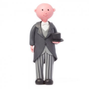 Bald Groom with Top Hat & Tails Wedding Cake Topper
