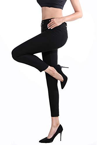 Dreamsy leggings skinny da donna pantaloni sportivi da yoga pantaloni a vita alta con tasche jeans elasticizzati jeggings, nero l