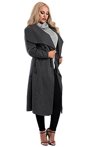 IKRUSH Women's Goya Long Belted Coat in GREY Size 1SZE