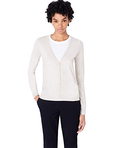 MERAKI Merino Strickjacke Damen mit V-Ausschnitt, Beige (Oatmeal), 40 (Herstellergröße: Large)