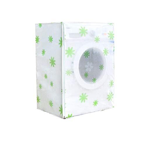 Vosarea Waschmaschine Abdeckung Grüne Blumen Mustern Wasserdicht Staubdicht Deckel für Waschmaschine Frontlader Wärmepumpentrockner (Frontlader-waschmaschine Abdeckung)