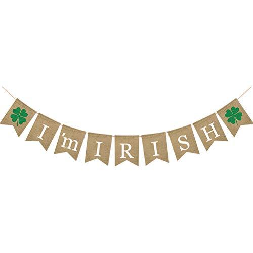 Amosfun Ich Bin Irish Shamrock Sackleinen Banner St.Patrick Day Dekorationen vierblättriges Kleeblatt Girlande