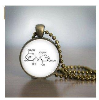 Chemie Halskette–Messing Saccharose Halskette Zucker Molekül Halskette–Glas Anhänger