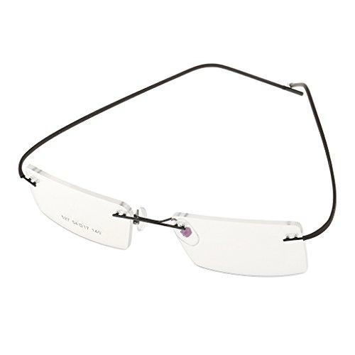 CUTICATE Leicht Herren Brille Brillengestell Randlos Metall Brillenfassung Lesebrillen - Schwarz, Einheitsgröße