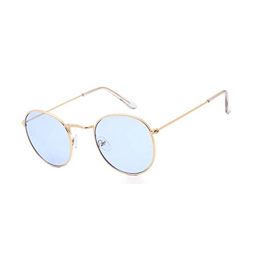 MOJINGYAN Sonnenbrillen,Vintage Runde Sonnenbrille Frauen Männer Retro Kreis Frame Sonnenbrille Design Uv 400 Gläser Gold Hellblau