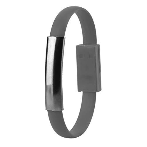 Modische kreative USB-Ladekabel Handgelenk Armband Daten Sync Ladegerät Kabel geeignet für Android Handys - grau