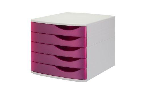 Jalema 2686358321 Silky Touch Schubladenbox, 5 geschlossene Schübe, hell grau/rosa