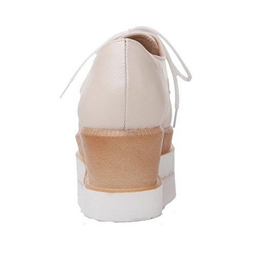 AgooLar Femme Lacet Pu Cuir Carré à Talon Correct Couleur Unie Chaussures Légeres Beige