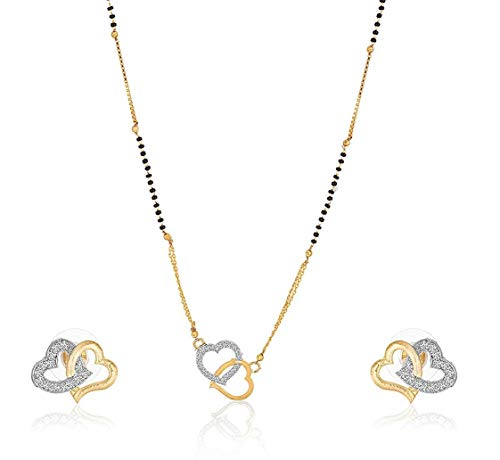 Darshini Designs Jewellery Heart Shape American Diamond mangalsutra for Women Set with 18 inch Long Chain