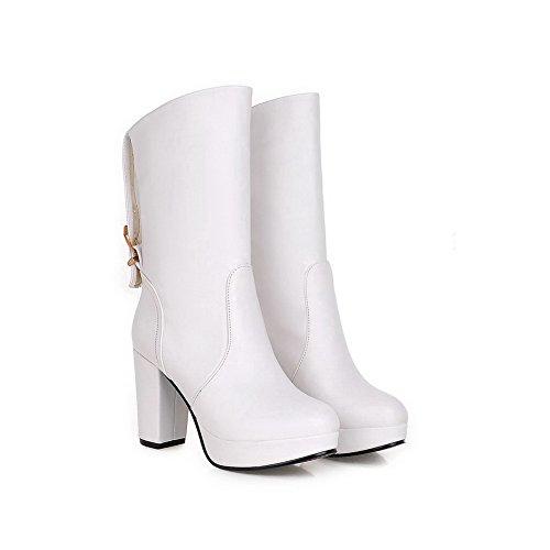 AllhqFashion Damen Hoher Absatz Blend-Materialien Mittler Kalb Rein Ziehen Auf Stiefel Weiß