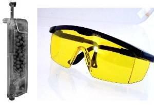Softair Schutzbrille + Speedloader Zubehör für Munition Schutzkleidung Ausrüstung