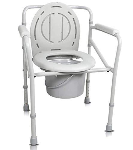 Nachttisch Kommode Stuhl-Schwerlast Stahl Toilettensitz, Erwachsene Nachttisch Kommode Stuhl, Medizinische Handicap Toilettensitz Mit Griff und Eimer, Weiß