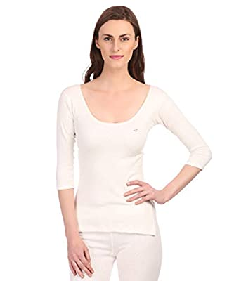 Neva Velveti Woman s Cotton Top & Lower Thermal Offf White and Skin