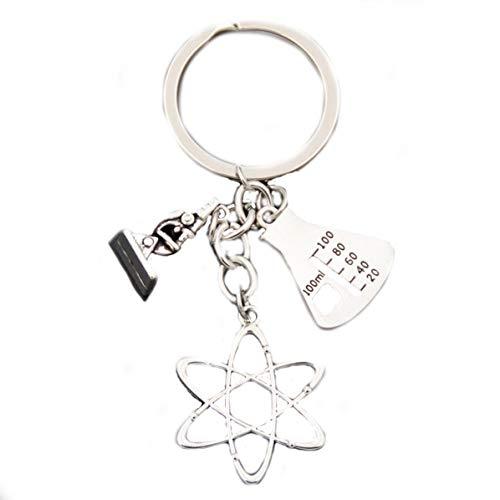 Wissenschaftler Schlüsselanhänger mit Messzylinder, Atom und Mikroskop Physik Chemie Biologie